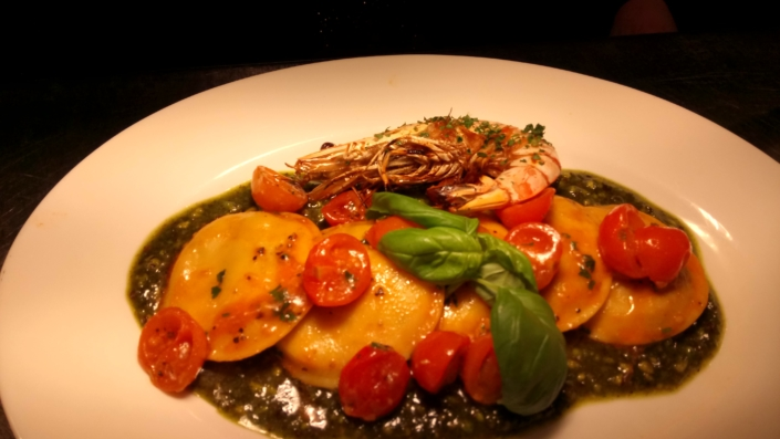 Seafood Ravioli with Pistachio Pesto