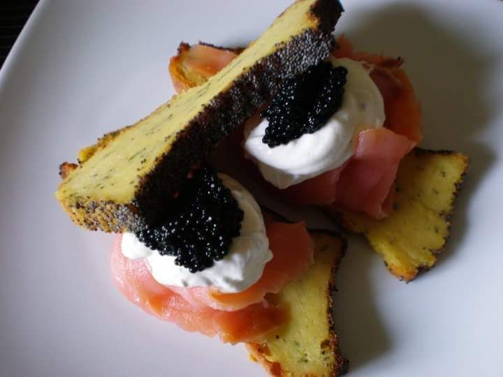 Smoked salmon with potatoes pancake and Caviar