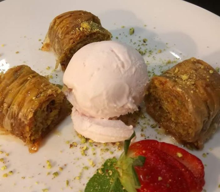 Turkish Baklava with Rose ice-cream